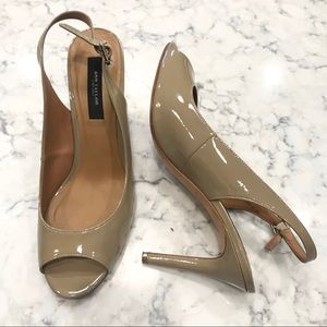 Ann Taylor Open Toe Slingback Heels Taupe Sz 8.5